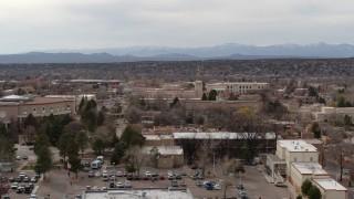 DX0002_130_042 - 5.7K stock footage aerial video of the Bataan Memorial Building in Santa Fe, New Mexico