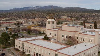 DX0002_131_003 - 5.7K stock footage aerial video approach the tower on the Bataan Memorial Building in Santa Fe, New Mexico