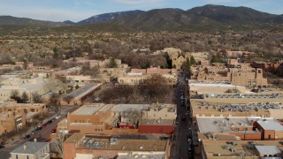 DX0002_131_020 - 5.7K stock footage aerial video flyby Santa Fe Plaza and cathedral in downtown, Santa Fe, New Mexico
