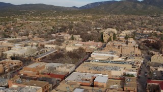 DX0002_131_022 - 5.7K stock footage aerial video of a view of the cathedral while orbiting Santa Fe Plaza, Santa Fe, New Mexico