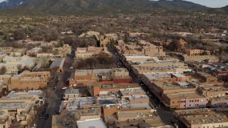 DX0002_131_024 - 5.7K stock footage aerial video of Santa Fe Plaza and cathedral in downtown, Santa Fe, New Mexico