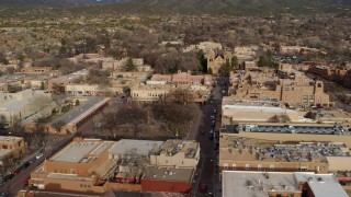 DX0002_131_027 - 5.7K stock footage aerial video approach Santa Fe Plaza and cathedral in Santa Fe, New Mexico