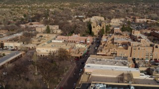 DX0002_131_028 - 5.7K stock footage aerial video flyby Santa Fe Plaza to approach the cathedral in Santa Fe, New Mexico