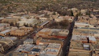 DX0002_131_030 - 5.7K stock footage aerial video of a view of Santa Fe Plaza during ascent in Santa Fe, New Mexico
