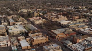 DX0002_131_032 - 5.7K stock footage aerial video orbit Santa Fe Plaza near the cathedral in Santa Fe, New Mexico