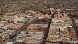 DX0002_131_033 - 5.7K stock footage aerial video wide orbit of Santa Fe Plaza near the cathedral in Santa Fe, New Mexico