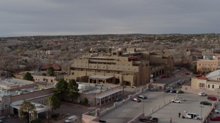 DX0002_131_036 - 5.7K stock footage aerial video orbit the Eldorado Hotel & Spa hotel, Santa Fe, New Mexico