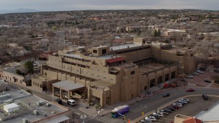DX0002_131_039 - 5.7K stock footage aerial video of flying toward the Eldorado Hotel & Spa hotel, Santa Fe, New Mexico