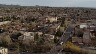 DX0002_131_042 - 5.7K stock footage aerial video a wide orbit of the New Mexico State Capitol, Santa Fe, New Mexico
