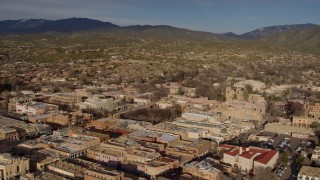 DX0002_132_005 - 5.7K stock footage aerial video flying past downtown area of Santa Fe, New Mexico