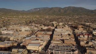 DX0002_132_010 - 5.7K stock footage aerial video of the downtown area of Santa Fe, New Mexico