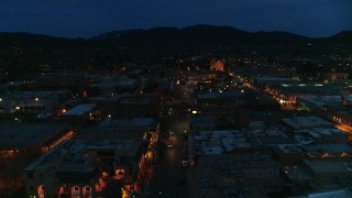 DX0002_132_015 - 5.7K stock footage aerial video of downtown lit up at night, Santa Fe, New Mexico
