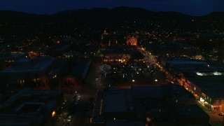 DX0002_132_019 - 5.7K stock footage aerial video view of cathedral at night while orbiting Santa Fe Plaza, Santa Fe, New Mexico