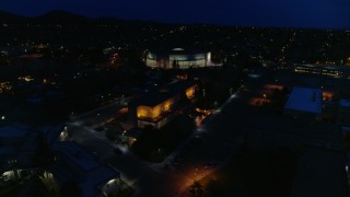 DX0002_132_021 - 5.7K stock footage aerial video view approach and orbit New Mexico State Capitol at night, Santa Fe, New Mexico