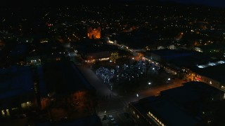 DX0002_132_028 - 5.7K stock footage aerial video approach and orbit Santa Fe Plaza near the cathedral at night, Santa Fe, New Mexico