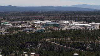 DX0002_133_026 - 5.7K stock footage aerial video of a slow approach to the Los Alamos National Laboratory, New Mexico