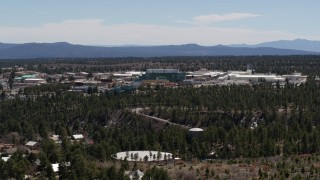 DX0002_133_037 - 5.7K stock footage aerial video flyby the Los Alamos National Laboratory complex, New Mexico