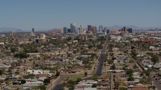 DX0002_136_047 - 5.7K stock footage aerial video of a wide view of the city's skyline in Downtown Phoenix, Arizona