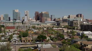 DX0002_137_030 - 5.7K stock footage aerial video of a view of high-rise office buildings in Downtown Phoenix, Arizona