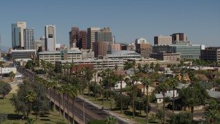 DX0002_137_033 - 5.7K stock footage aerial video of passing tall office buildings in Downtown Phoenix, Arizona