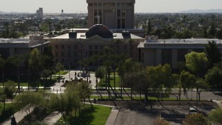 DX0002_137_057 - 5.7K stock footage aerial video of an orbit of the front of Arizona State Capitol building in Phoenix, Arizona