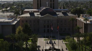 DX0002_137_064 - 5.7K stock footage aerial video approach the Arizona State Capitol, orbit building in Phoenix, Arizona