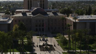 DX0002_137_066 - 5.7K stock footage aerial video orbit around the front of the Arizona State Capitol building in Phoenix, Arizona