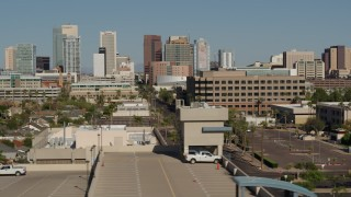DX0002_137_071 - 5.7K stock footage aerial video of a view of tall office buildings, seen from near the capitol in Downtown Phoenix, Arizona