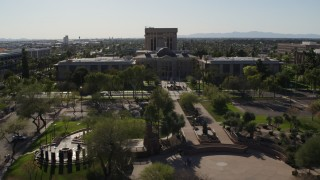 DX0002_138_001 - 5.7K stock footage aerial video fly around plaza while focused the Arizona State Capitol building in Phoenix, Arizona