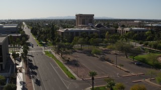 DX0002_138_002 - 5.7K stock footage aerial video of the Arizona State Capitol seen from Jefferson Street in Phoenix, Arizona