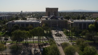 DX0002_138_007 - 5.7K stock footage aerial video reverse view of the Arizona State Capitol in Phoenix, Arizona