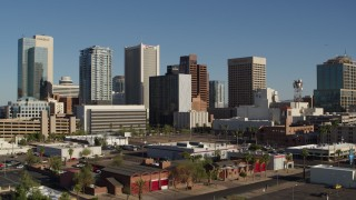 DX0002_138_010 - 5.7K stock footage aerial video reverse view of the city's high-rise office buildings in Downtown Phoenix, Arizona