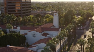 DX0002_138_043 - 5.7K stock footage aerial video of circling a church steeple in Phoenix, Arizona