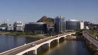 DX0002_142_001 - 5.7K stock footage aerial video of approaching modern office buildings in Tempe, Arizona