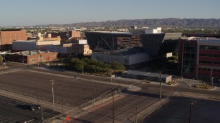 DX0002_142_038 - 5.7K stock footage aerial video of the Maricopa County Sheriff's Office at sunset in Downtown Phoenix, Arizona
