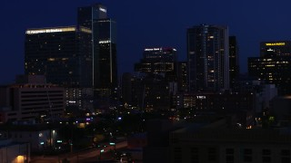 DX0002_143_069 - 5.7K stock footage aerial video of high-rise office buildings at twilight, Downtown Phoenix, Arizona