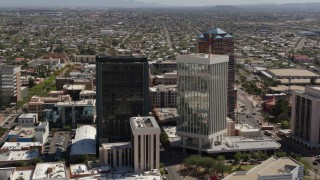 DX0002_144_022 - 5.7K stock footage aerial video of tall high-rise office towers, Downtown Tucson, Arizona