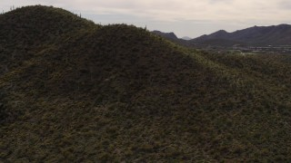 DX0002_145_004 - 5.7K stock footage aerial video fly away from a small peak with cactus plants in Tucson, Arizona