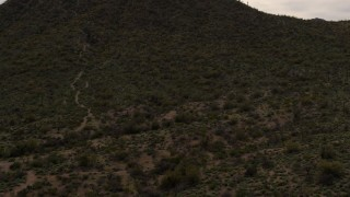 DX0002_145_008 - 5.7K stock footage aerial video reverse view of a small peak with cactus plants in Tucson, Arizona
