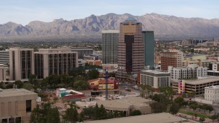 DX0002_145_015 - 5.7K stock footage aerial video orbit One South Church office high-rise in Downtown Tucson, Arizona