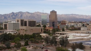 DX0002_145_023 - 5.7K stock footage aerial video ascend and approach One South Church office building, Downtown Tucson, Arizona