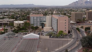 DX0002_145_027 - 5.7K stock footage aerial video of orbiting a district court building in Downtown Tucson, Arizona