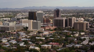 DX0002_146_005 - 5.7K stock footage aerial video a view of three office towers near courthouse in Downtown Tucson, Arizona