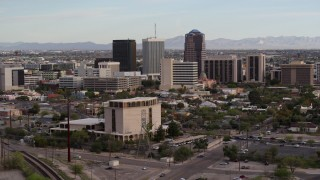 DX0002_146_006 - 5.7K stock footage aerial video three office towers seen from near university office building in Downtown Tucson, Arizona