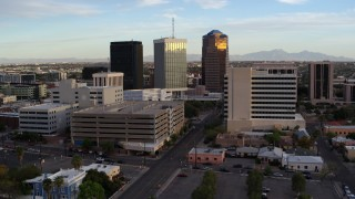 DX0002_146_022 - 5.7K stock footage aerial video reverse view of Bank of America Plaza office tower in Downtown Tucson, Arizona