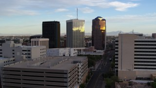 DX0002_146_026 - 5.7K stock footage aerial video of Bank of America Plaza and neighboring office towers during decent in Downtown Tucson, Arizona