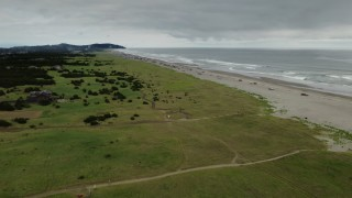 DX0002_148_012 - 4K stock footage aerial video of flying away from people on the beach in Long Beach, Washington