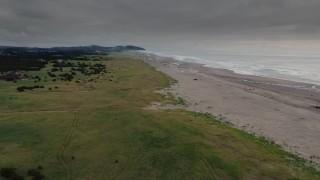 DX0002_148_021 - 4K stock footage aerial video of approaching beach-goers near the ocean in Long Beach, Washington