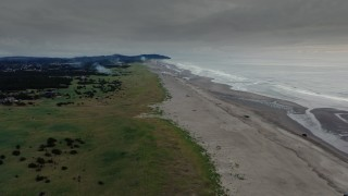 DX0002_148_035 - 4K stock footage aerial video approach and flyby the beach as fireworks go off at sunset in Long Beach, Washington
