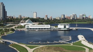 DX0002_149_009 - 5.7K stock footage aerial video of Discovery World museum in Downtown Milwaukee, Wisconsin